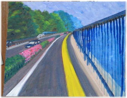 列車と春の別大国道