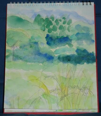 七瀬の草と木々と山(水彩)