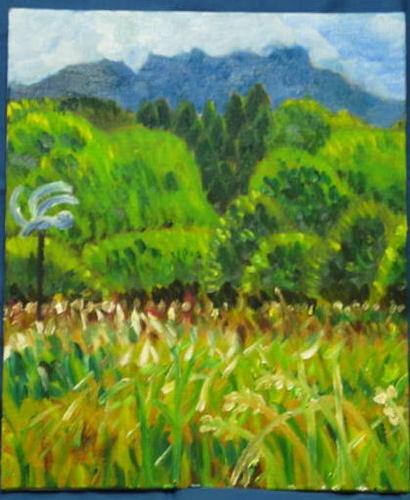 七瀬の草と木々と山(油彩)
